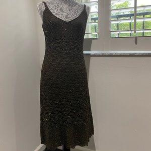 CARMEN MARC VALVO Metallic Olive Green Dress